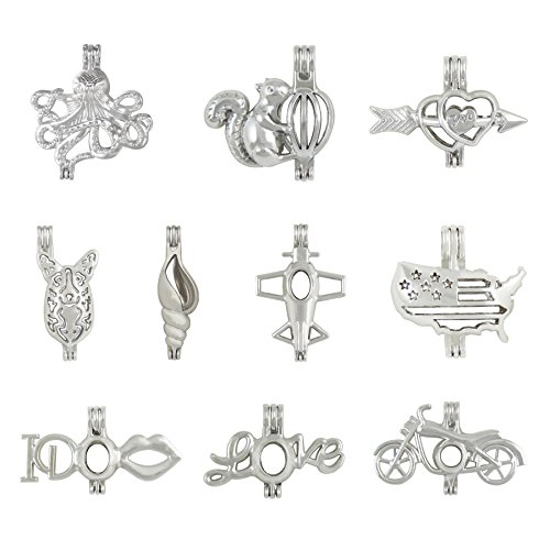 - 10 Pcs Mix Jewelry Making Supplies Alloy Love Squirrel Aircraft Motorcycles Shark Bead Cage Pendant - Add Your Own Pearls Rock To Cage Perfume Essential Oils To Create A Scent Diffusing Pendant Charms