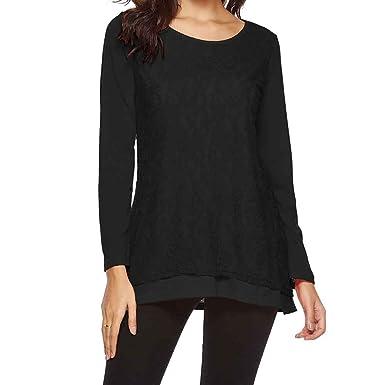 8ad39111c9f7e6 iZHH Womens Shirt Casual Long Sleeve Tops Lace O Neck T Shirt Blouses Tunic Blouse  Shirts