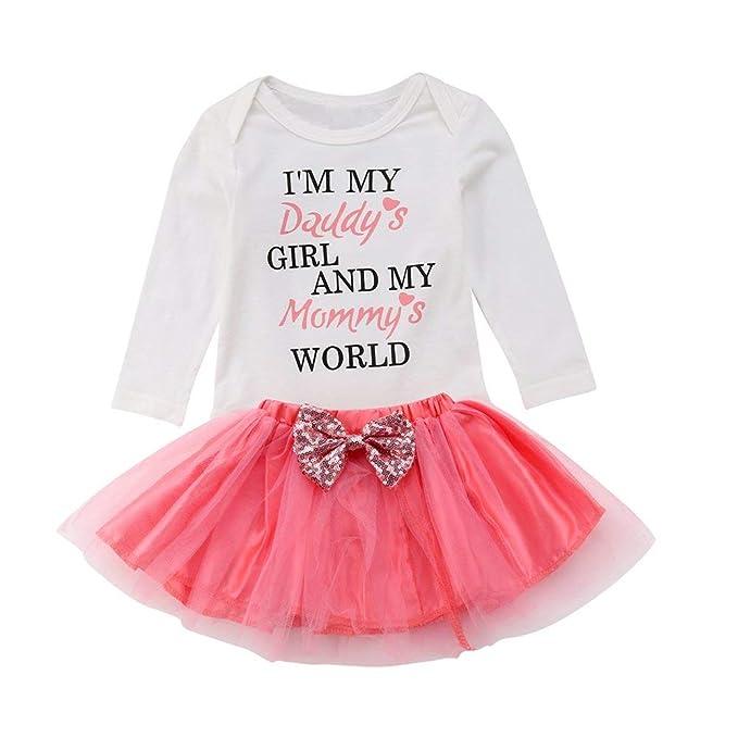 51db598d7 Amazon.com: OUTGLE Newborn Baby Girl Short Sleeve Romper + Pink Tutu Skirt  + Headband Clothing Set Summer Outfits: Clothing