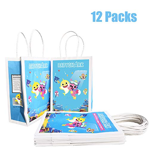(Baby Cute Shark Party Bags Birthday Gift Favor Goodie Candy Gifts Goody Paper Treat Theme Snack Doo Doo Bag, Well for Girls or)