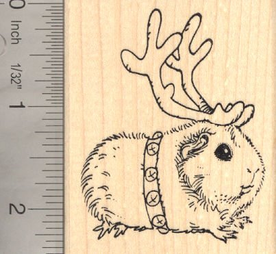 Christmas Guinea Pig Reindeer Rubber Stamp