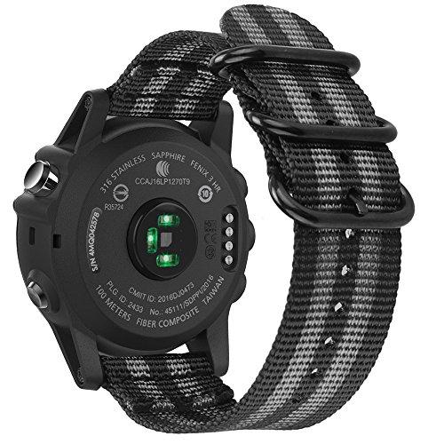 Fintie Band for Garmin Fenix 5X Plus/Tactix Charlie Watch, 26mm Premium Woven Nylon Bands Adjustable Replacement Strap for Fenix 5X/5X Plus/3/3 HR/Garmin Tactix Charlie Smartwatch - Black/Gray