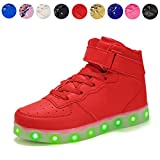 Voovix Kids LED Light up Shoes USB Charging Flashing High-top Sneakers Boys Girls Child Unisex(red,US4.5/CN37)