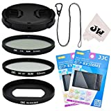 8in1 Accessories Kit for Camera Sony RX100 Mark VI : 52mm Filter Adapter + 52mm UV + CPL Filter + 2 Sets Glass Screen Protector + Lens Cap Protector + Lens Cap Hook Keeper + Microfiber Cleaning Cloth