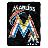 Officially Licensed MLB Miami Marlins Micro Raschel Plush Throw Blanket, Trip Play Design