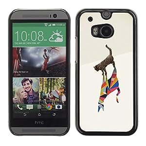 PC/Aluminum Funda Carcasa protectora para HTC One M8 Cat Polygon Art Artistic Black Watercolor / JUSTGO PHONE PROTECTOR
