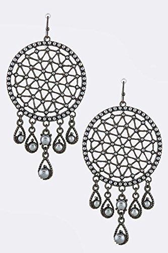 KARMAS CANVAS FRINGED CIRCLE PATTERN EARRINGS (Hematite Pattern Earrings)