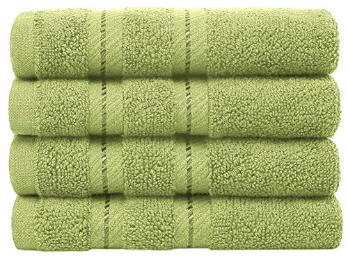 American Soft Linen 100% Ring Spun Genuine Cotton, Washcloth Set of 4 for Face, Hand, Gym, Kitchen, Cleaning, Bar, and Restaurant - Pistachio Green (Products American Ring)