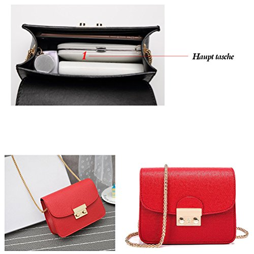 Women Pu Red Color Mini Solid Clutch Leather Handbag Orange Strap Purse Shoulder Chain With rwOxr