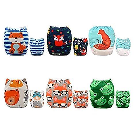 Alva Baby - Pañales de tela reutilizables (6 unidades), lavables, 6 unidades de pañales + 12 paños interiores Boy Color 6DM43 Talla:All in one: Amazon.es: ...