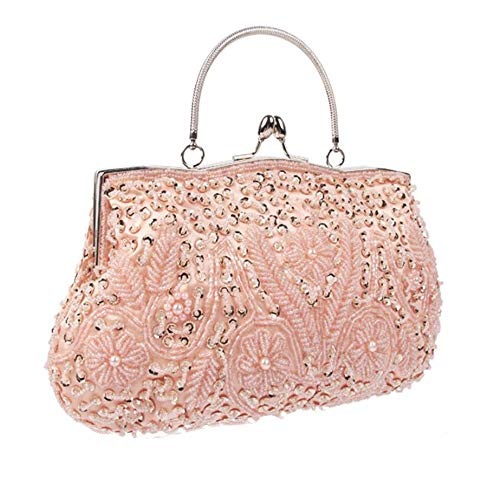 Bag Kiss Messenger Sequins Dinner Vintage Women's H WUHX Luxury Design Evening Beaded Dress Flower One Shoulder Clutch Lock RE4aEFxq