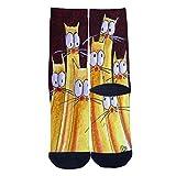 Creative design of yellow kittens Custom Socks Street Fashion Socks Hip Hop Street Professional Skateboard Sports Socks Black