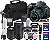 Nikon D5500 DX-format Digital SLR w/ AF-P DX NIKKOR 18-55mm f/3.5-5.6G VR and 70-300mm F/4.5-6.3 G DX Lens + 64GB Memory Accessory Bundle – International Version