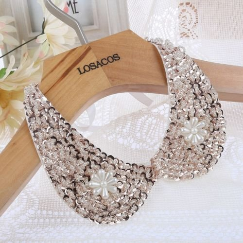 [Vintage Gold Sequin beads white Ribbon Fake collar Choker statement Necklaces NN] (Vintage Costume Jewelry Lot)