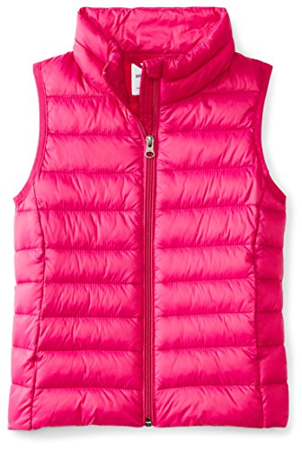 (Amazon Essentials Big Girls' Lightweight Water-Resistant Packable Puffer Vest, Fuchsia Purple, Medium)