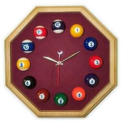 13in Octagon Billiard Clock Oak Wine Mali Felt