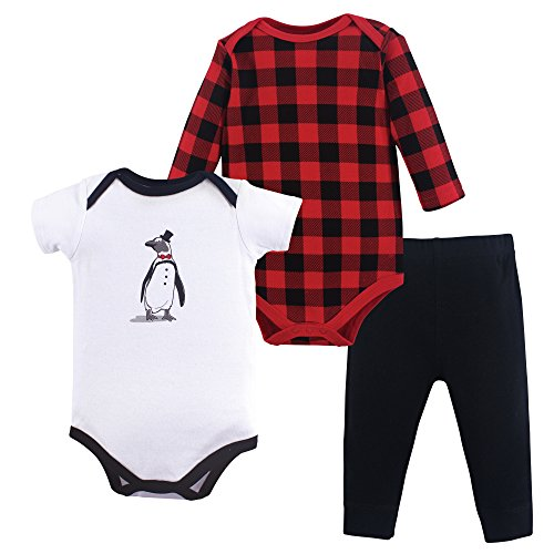 Hudson Baby Baby Bodysuit and Pant Set, Penguin, 0-3 Months (3M)