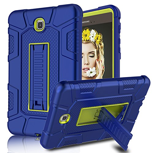 Galaxy Tab A 8.0 Case, Elegant Choise Heavy Duty Three Layer Full Body Protection Armor Defender Protective Case Cover with Kickstand for Samsung Galaxy Tab A 8.0 inch / SM-T350NZ (2015) (Yellow/Blue)