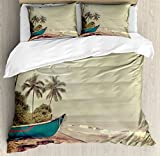 Vintage Hawaii Queen Size Duvet Cover Set by Lunarable, Old Boat and Dirty Tires Stranded on Beach with Calm Sea Clouds, Decorative 3 Piece Bedding Set with 2 Pillow Shams, Teal Pale Brown Green