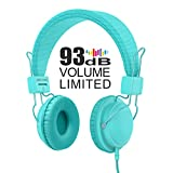 AILIHEN HD850 Kids Headphones with Microphone Volume Limited and Audio Share Port for iPhone Tablets Android Smartphones Laptops (Turquoise)
