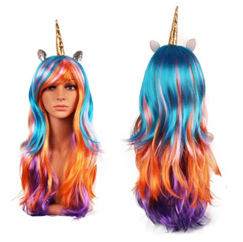 Luxury Horn Headband Hairpiece Rainbow Wig Perfect for Party Decoration or Cosplay Costume (Gold Rainbow)