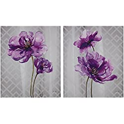 Décor 5 - Printed Canvas Set - 2 Pieces, 20'' x 24'' - Flourish - Purple, Grey, Floral