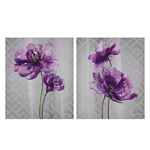 Décor 5 - Printed Canvas Set - 2 Pieces, 20'' x 24'' - Flourish - Purple, Grey, Floral