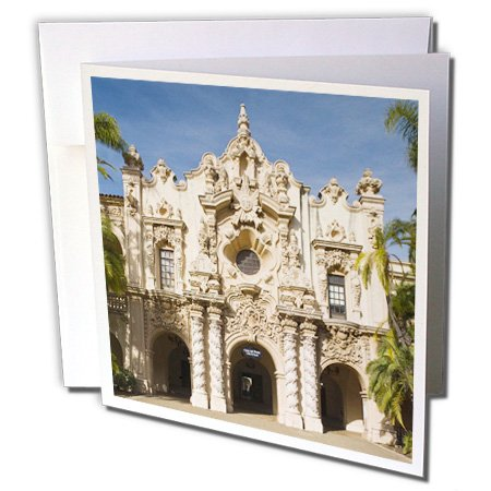 3dRose CA, San Diego. Casa del Prado, Balboa Park - US05 WBI0652 - Walter Bibikow - Greeting Cards, 6 x 6 inches, set of 6 (gc_88669_1)