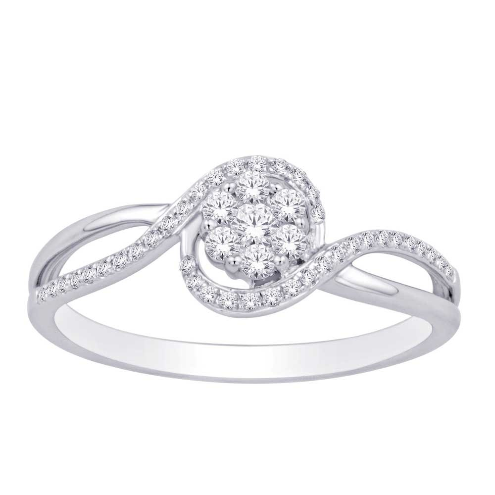 10K White Gold 1/4 Ct.Tw. Diamond Flower Ring