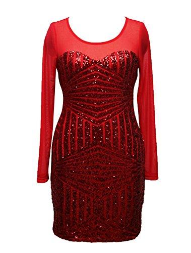 Vestidos Mujer Vestidos De Fiesta Cortos Elegantes De Noche Con Manga Larga Ajustados Vintage Transparente Mesh Splicing Lentejuelas Vestidos Coctel Vestidos Cortos Vestidos Lapiz Rojo
