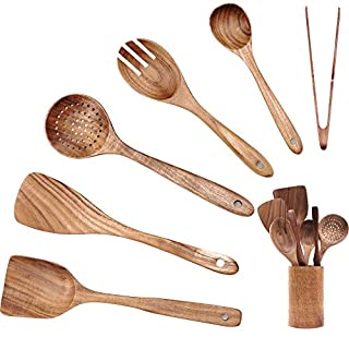 Lumicook Wooden Kitchen Utensil Set (7 Pc), Wooden Spoons and Spatulas For Cooking, Smooth Teak Wooden Utensils, Holder, and Tongs