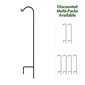 Gray Bunny 65 inch Black 1/2 Inch Thick, Solid (Non-Hollow) Heavy Duty Rust Resistant Premium Metal Hook Hangers for Weddings, Hanging Plant Baskets Solar Lights Lanterns Bird Feeders
