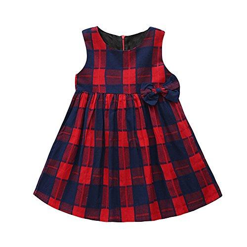 PanDaDa Kid Girls Red Plaid Sleeveless Bowknot Dress Summer Princess Dress