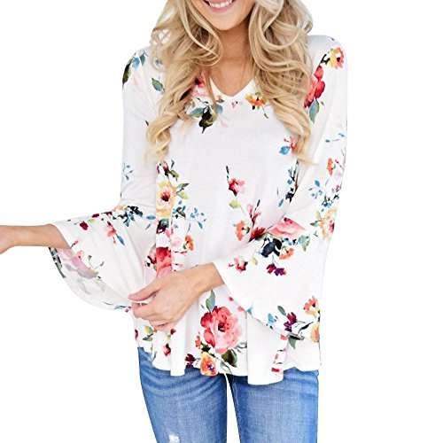 Womens Swing Tunic Casual V Neck Floral Printing Long Flare Sleeve Tops Loose Fit Comfy Flattering T Shirt White