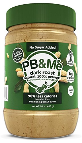 PB&Me DARK ROAST Powdered Peanut Butter, No Sugar Added, 1LB (Pb Powdered)