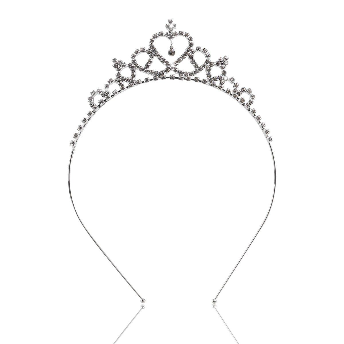 LUOEM Fleur Fille Tiare Bandeaux Fille Mariage Couronne Cristal Strass en Forme de Coeur Bandeau Accessoires de Cheveux de Mariage (Argent)