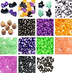 Halloween Pony Bead Alphabet Kit - Plastic Beads (over 1300 beads) with elastic cord