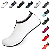 Heeta Barefoot Water Sports Shoes for Women Men Quick Dry Aqua Socks for Beach Pool Swim Yoga White M