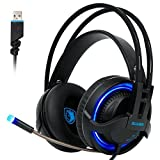 Image of SADES R2 Gaming Headset 7.1 Surround Sound USB Over the ear Headphone LED with Retractable Microphone for PC Laptop