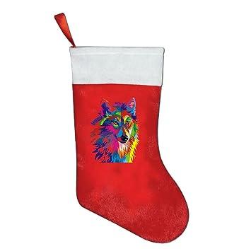 Color pintado lobo Navidad medias de Navidad Candy bolsa de regalo calcetines para colgar decoración: Amazon.es: Hogar