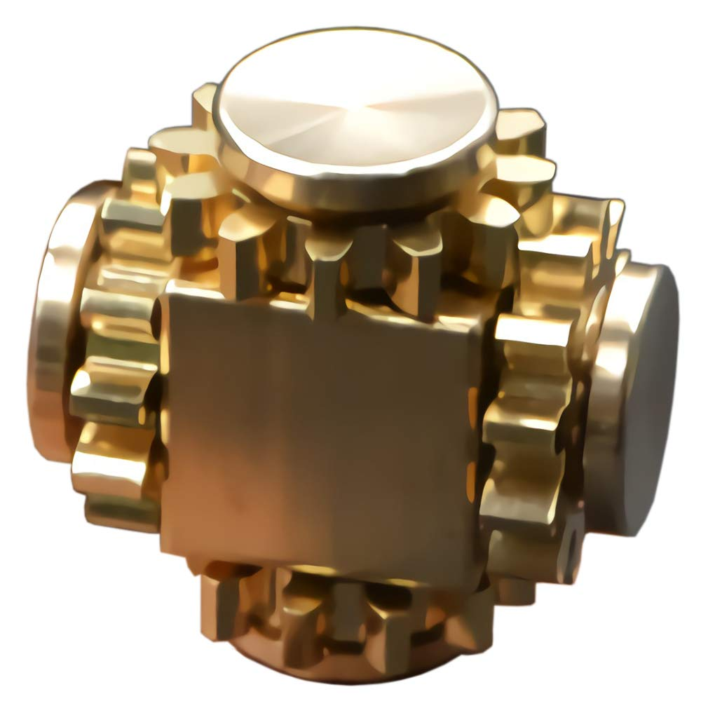 Amperer Pure Brass Fidget Block Fidget Cube Gears Linkage Cubes Ultra Durable Mechanics Romoveable EDC Toy (Brass) by Amperer