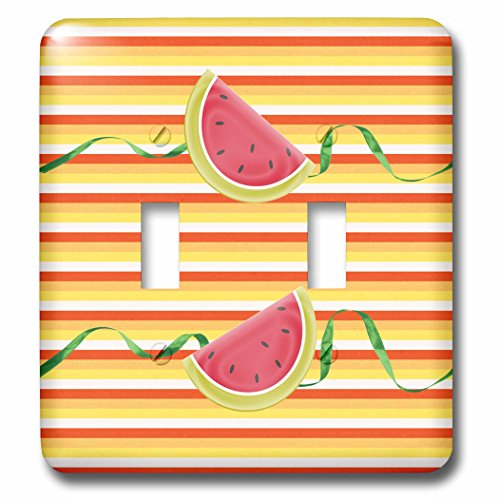 3dRose LSP_244109_2 Watermelon on Green Ribbon Look, Red, Yellow, Orange Pattern Toggle Switch, Multicolor