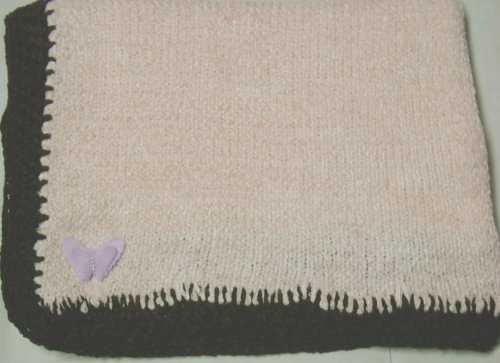 Knitted on Hand Knitting Machine Baby Pink Chenille Hand Crochet Finished with Dark Brown Chenille Infant Girls Large Blanket Size 32 By 45 Inches Trimmed with Lilac Velvet Rhinestone Butterfly