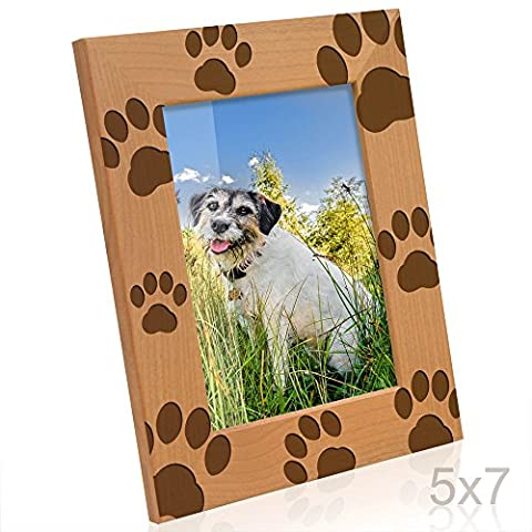 Kate Posh - Doggie Paw Prints Wooden Picture Frame (5x7-Vertical) - Picture Paw Print