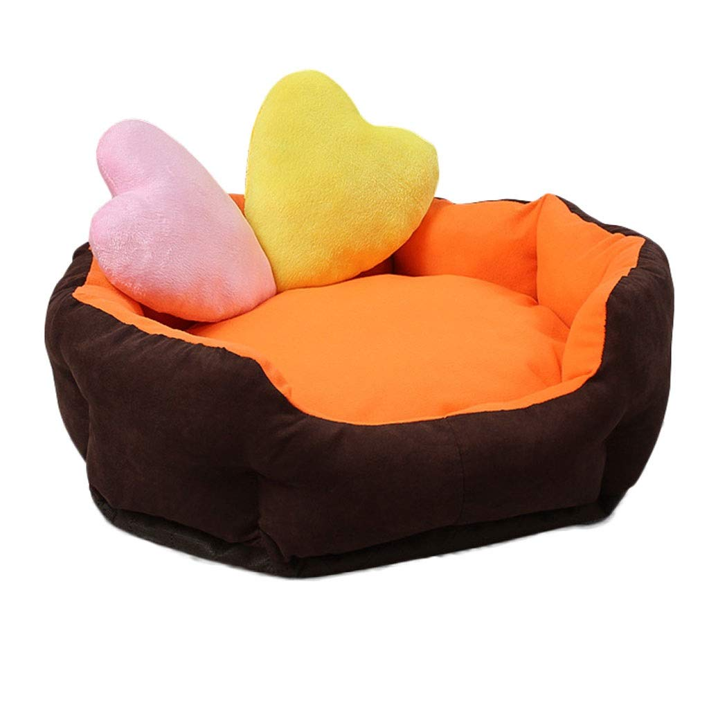 orange 464214cm orange 464214cm Round Short Plush Pet Nest, golden Hair Large Small Medium Dog Dog Bed, Household Pets Can Be Removed for Four Seasons, Non-Slip Mat (color   orange, Size   46  42  14cm)