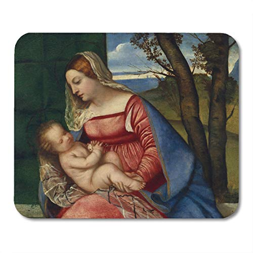 Emvency Mouse Pads Madonna and Child by Titian 1508 Italian Renaissance Painting Mouse Pad for notebooks, Desktop Computers mats 9.5