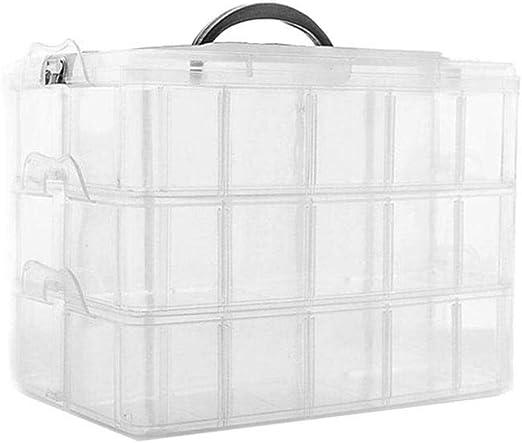 Caja de almacenaje de 3 capas de plástico transparente, caja de 30 ...