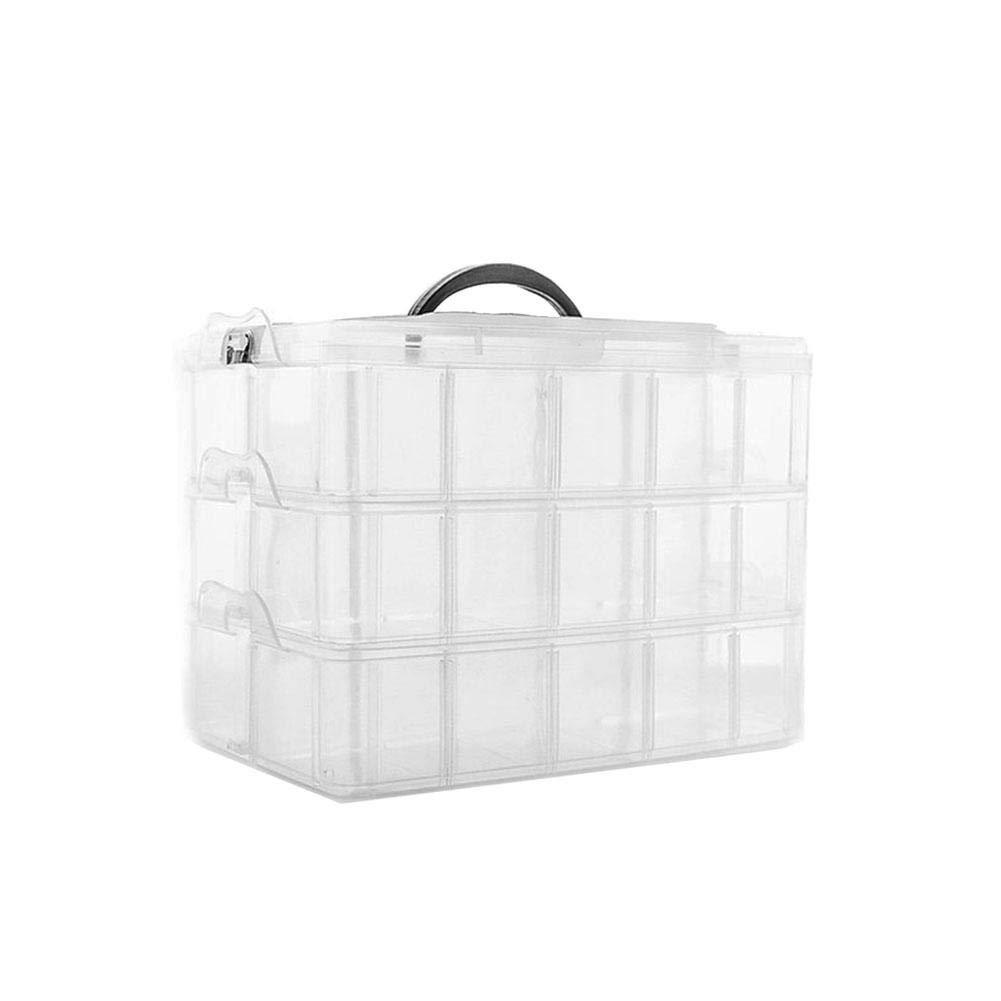 Dough.Q 3-stö ckige Kunststoff Transparente Aufbewahrungsbox-30 Verstellbare Fä cher - Sortierbox Fü r Organisation von Nä hfä den, Beautyzubehö r,Nagellack, Schmuck - Stapelbarer Abschließ barer Behä lter