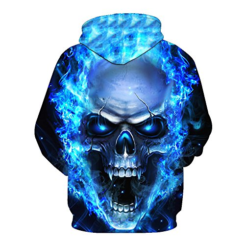 WOCACHI Unisex 3D Printed Skull Pullover Long Sleeve Hooded Sweatshirt Tops Blouses 2019 Spring Valentine Day Boyfriend Girlfriend Best Gift Under 10 Up to 30% Deals ()