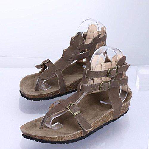 Plage Pantoufles Brun Cross Plat Mode Chaussures Automne Sandales Boucles Femmes Zahuihuim attaché Cheville Ov7Rxzx